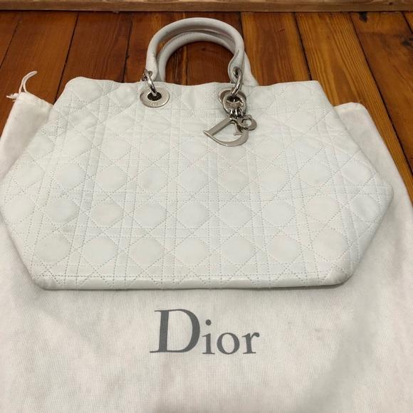 84e1f3ad Dior large Lady Dior Soft Tote white grey bag
